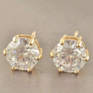 8mm Round Clear CZ & Gold Filled Earrings